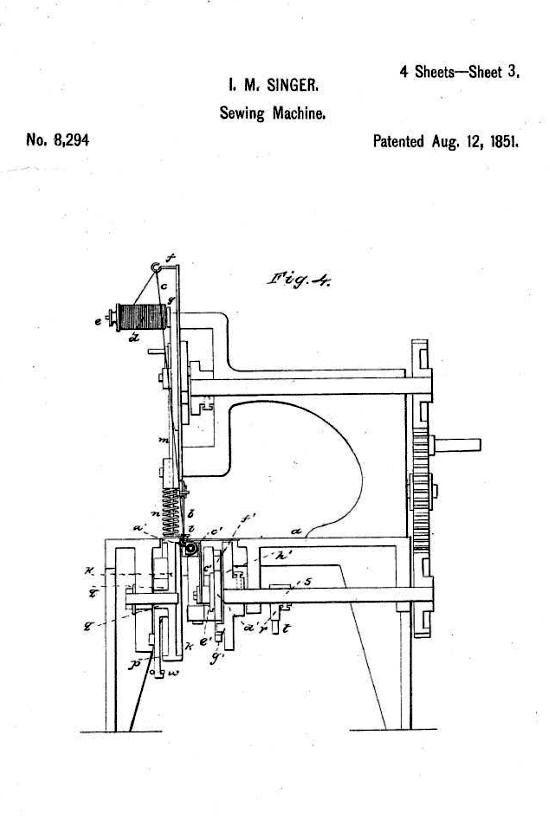 Singer sewing machine patent 1851 - sheet 3