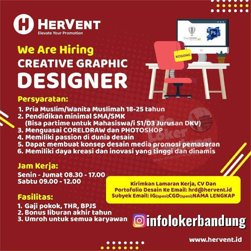 Lowongan Kerje Creative Graphic Designer Hervent Bandung Januari 2020