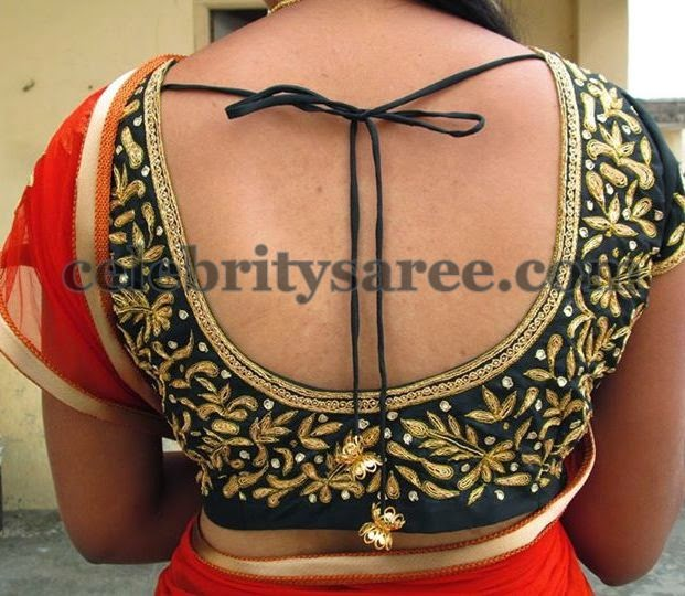 Maggam Work Simple Floral Blouse Saree Blouse Patterns