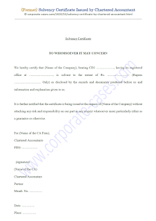 solvency certificate format by chartered accountant