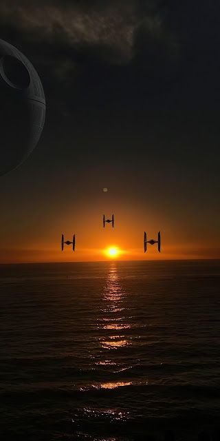 Wallpaper Star Wars Shuttles, Planet, Sea, Sunset.