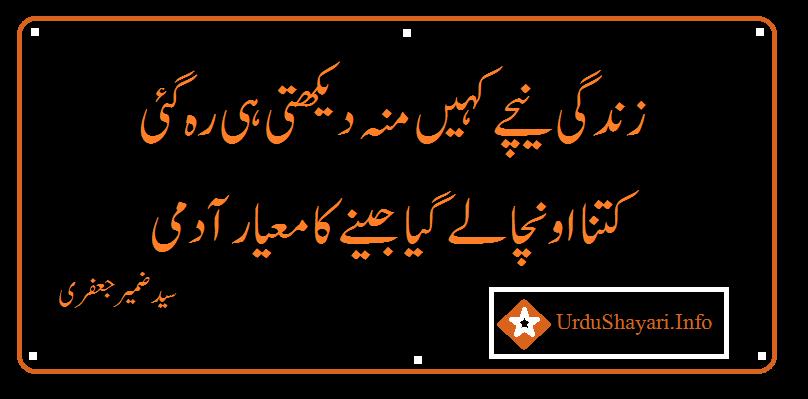 deep poetry in urdu - 2 lines shayari by syed zameer jafri