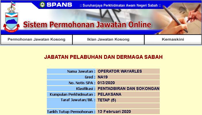 Kekosongan Jawatan Kerajaan Negeri Sabah 2020 Operator Wayarles Gred N19 Jawatan Kosong Terkini Negeri Sabah