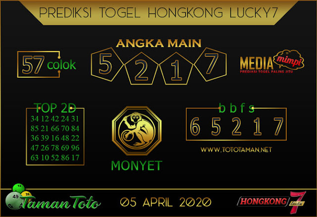 Prediksi Togel HONGKONG LUCKY 7 TAMAN TOTO 05 APRIL 2020