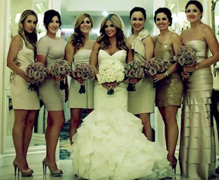 Wedding picture of Alison Victoria along with bridesmaids