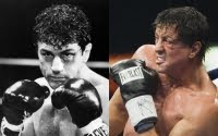 Grudge Match - the younger selves of Robert de Niro and Sylvester Stallone.