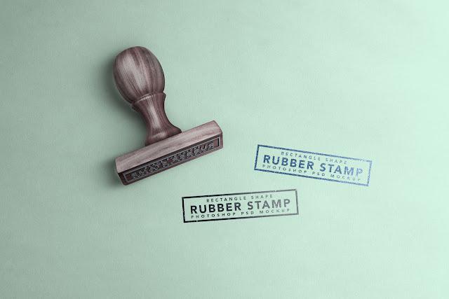 تحميل موك اب ختم خشبي مستطيل جديد مجانا-Free Rectangle Stamp Mockup