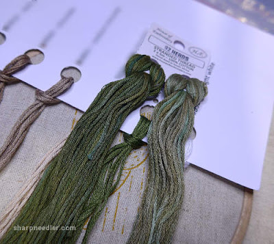 Choosing some variegated House of Embroidery threads to use on the stems of Jenny McWhinney's Queen Anne's lace travelling work station