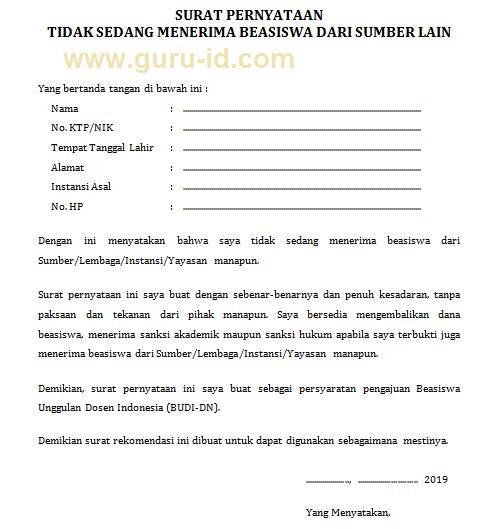 gambar Surat Pernyataan Tidak Sedang Memperoleh Bantuan Pendidikan dari Instansi/Lembaga lain