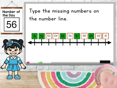 using a number line to fill in missing numbers