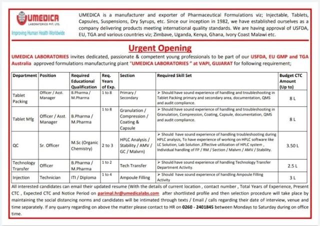 Umedica Labs   Urgent openings in Manufacturing/QC/TAT at Vapi, Gujarat   Send CV
