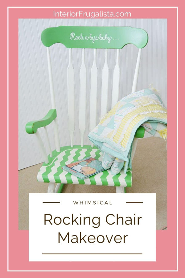 A vintage wooden rocking chair makeover in white and green for a baby nursery with fun chevron stripes and sweet hand painted typography. #vintagerockingchair #nurseryrockingchair #woodenrockingchair