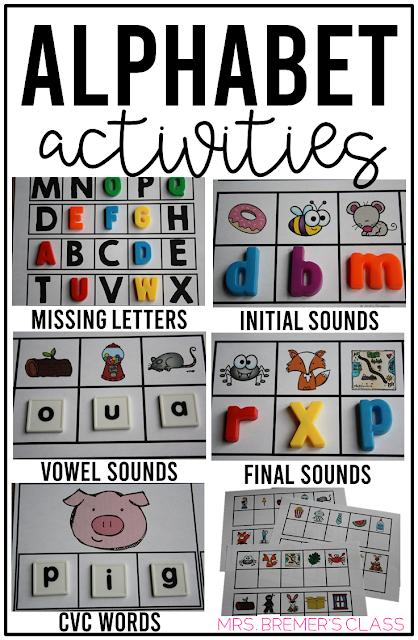 Alphabet literacy centers and phonics activities for Kindergarten