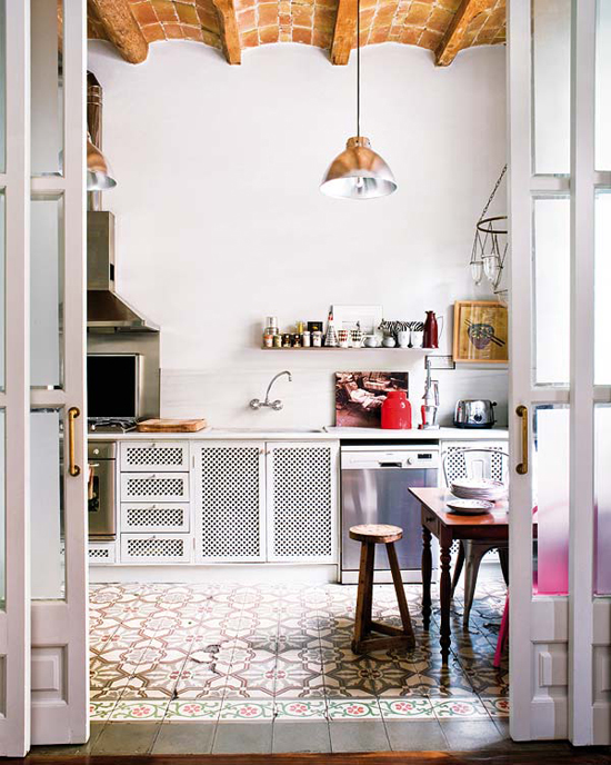 Contemporary kitchens with cement tiles| Design by Montse Esteva.