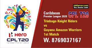 CPL 2020 TKR vs GAW  1st Match Predictions |Guyana Amazon Warriors vs Trinbago Knight Riders
