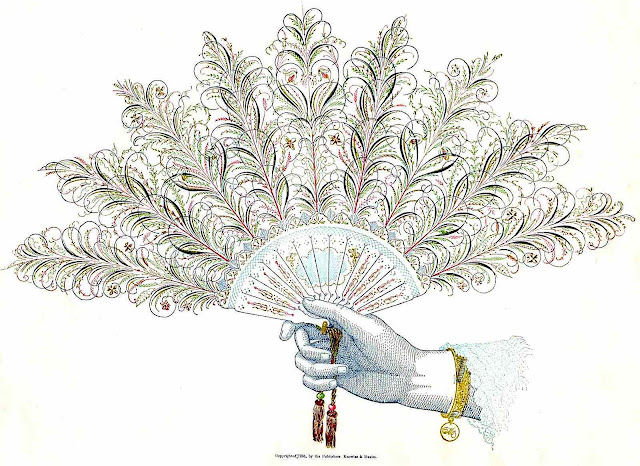 an old color calligraphy pen drawing of a woman's hand holding a feather fan