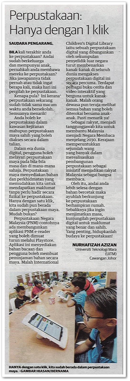 Perpustakaan : Hanya 1 klik - Keratan akhbar Utusan Malaysia 13 Julai 2019
