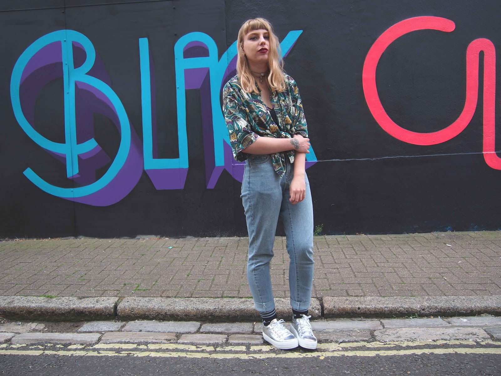 vintage oversized shirt, girlfriend jeans, cheap monday jeans, harness bra, metallic flatform platform shoes, adidas socks, alternative unique grunge spring summer style outfit inspiration 1
