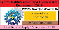 Central Institute of Mining and Fuel Research Recruitment 2018- 18 Technician
