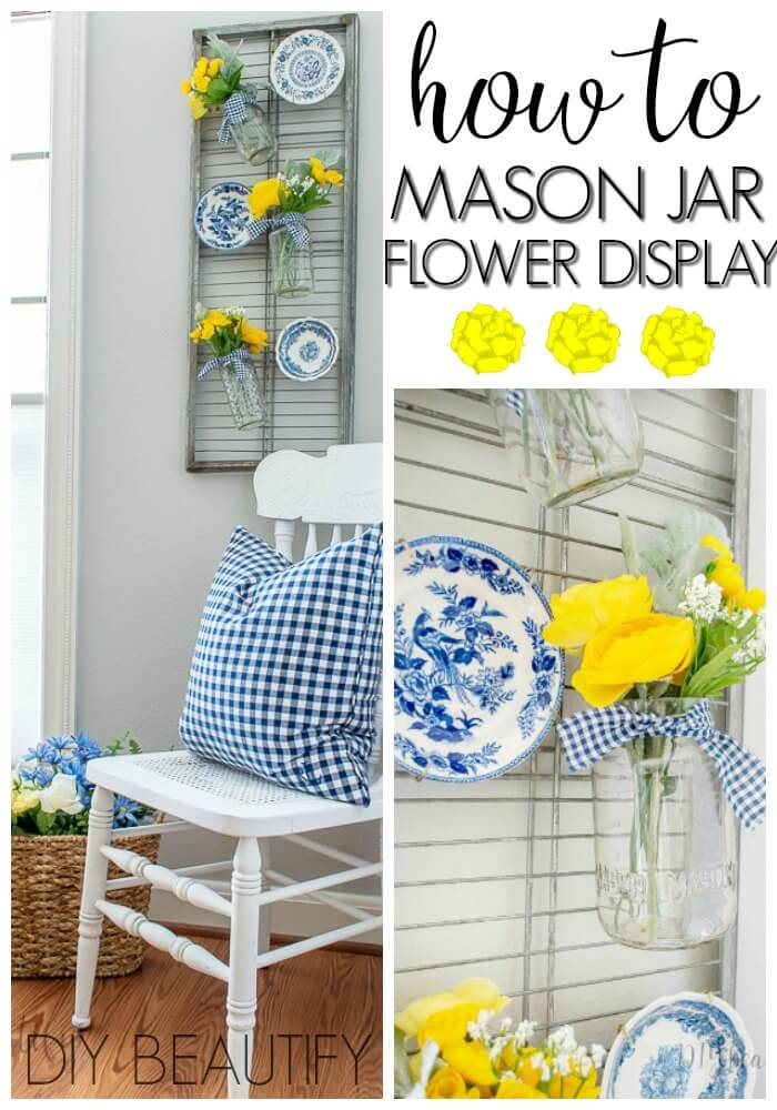 hanging mason jar flower display