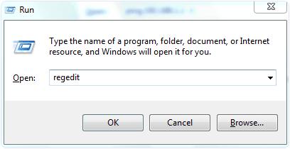 regedit windows run option