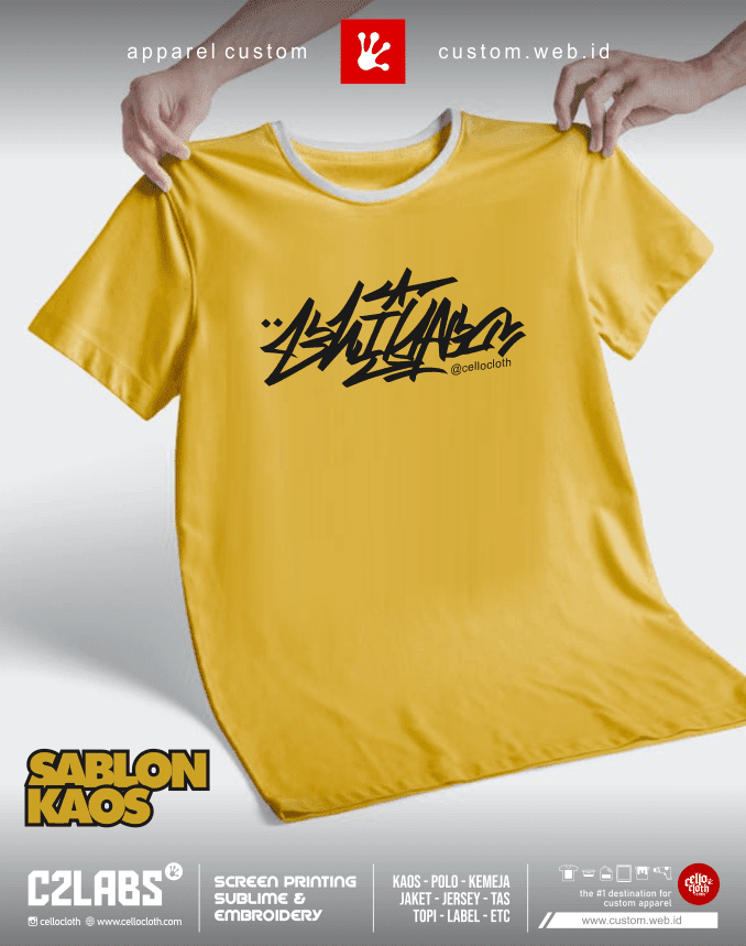 Custom Kaos Terdekat Jogja Manual Rubber Plastisol - C2 Labs Cellos Clothes