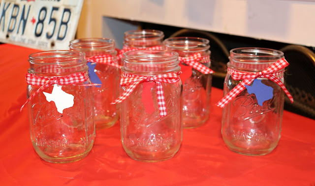 Instead Of Wine Glasses I Used Mason Jars To Fit With The Theme I Cut Out Small California And Texas State Silhouettes In Red White And Blue For Wine