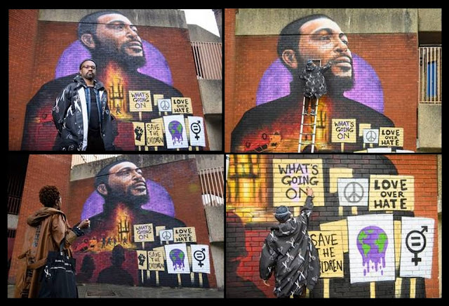 """Giant mural by Dreph uveiled in Brixton as Motown & Island celebrate 50th Anniversary of Marvin Gaye's album """"What's Going On'."""