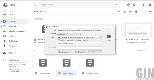 mendownload file yang limit di Google Drive