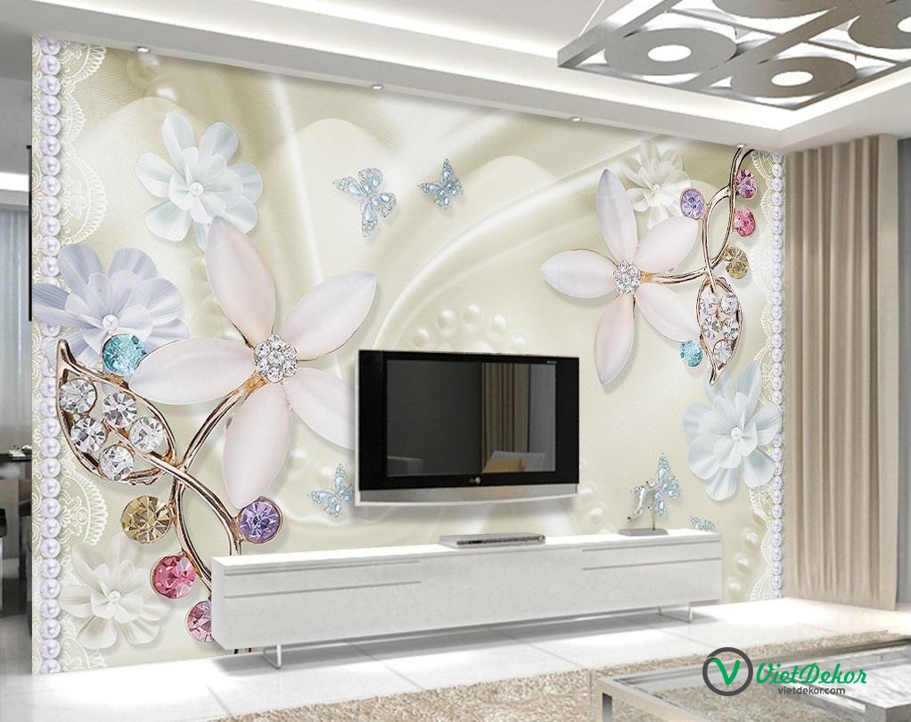 Tranh dán tường 3d hoa bướm trang trí