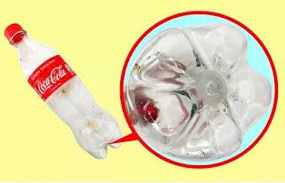 Bagian bawah botol plastik tidak rata