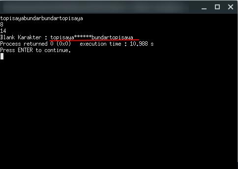 Program C Membuat Blank Karakter Tertentu pada Kalimat | Program C