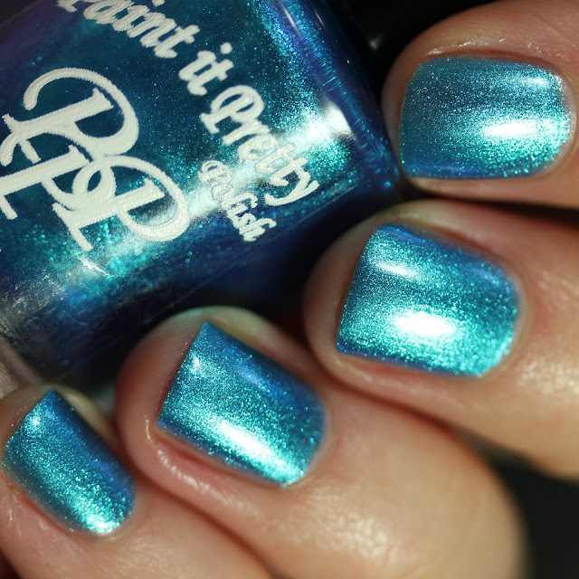 Paint It Pretty Polish Summer Skies swatch cyan blue multichrome