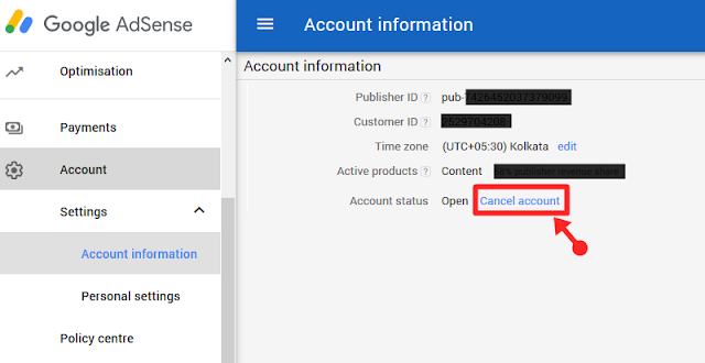 Adsense account ko delete or Cancel kaise kare