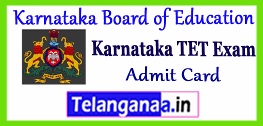 KAR TET Hall Ticket Karnataka TET Exam Admit Card 2018