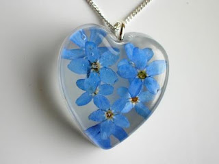 Real pressed forget me not pendant