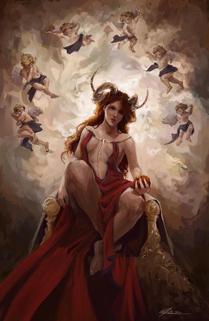 Ilustração representando Lilith, também conhecida como Hécate ou Babalon, a mulher escarlate.