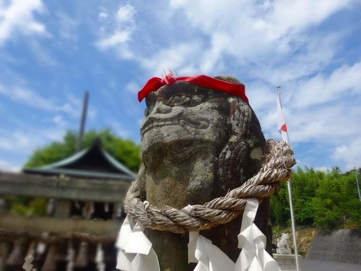 赤鉢巻が凛々しい狛犬さん。