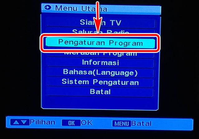 Pengaturan program pada menu matrix