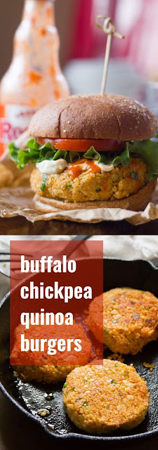 Buffalo Chíckpea Quínoa Burgers