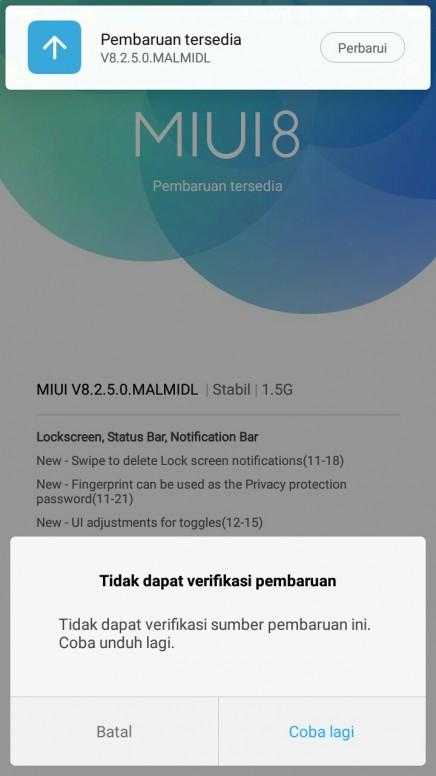 Solusi Gagal Update Rom Xiaomi (Tidak Sanggup Verifikasi Pembaharuan / Can't Verify Update)