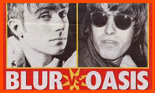 Blur versus Oasis newspaper graphic