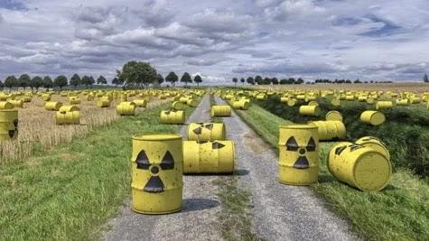 imagem do lixo nuclear em tambores