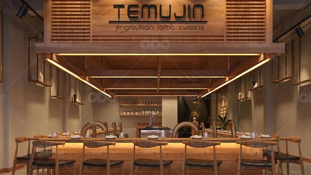 Gỗ được ưu tiên sử dụng hàng đầu khi thiết kế nhà hàng Hàn Quốc theo phong cách truyền thống