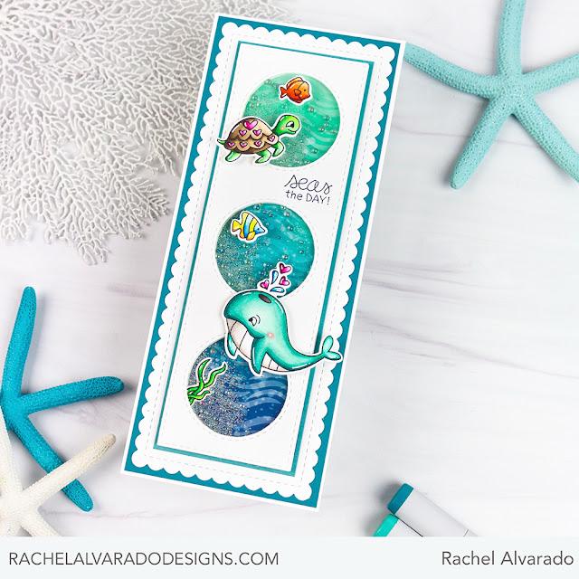 Seas the Day Slimline Card by July Guest Designer Rachel Alvarado | Tides of Love Stamp Set, Waves Stencil and Slimline Frames & Portholes Die Set by Newton's Nook Designs #newtonsnook