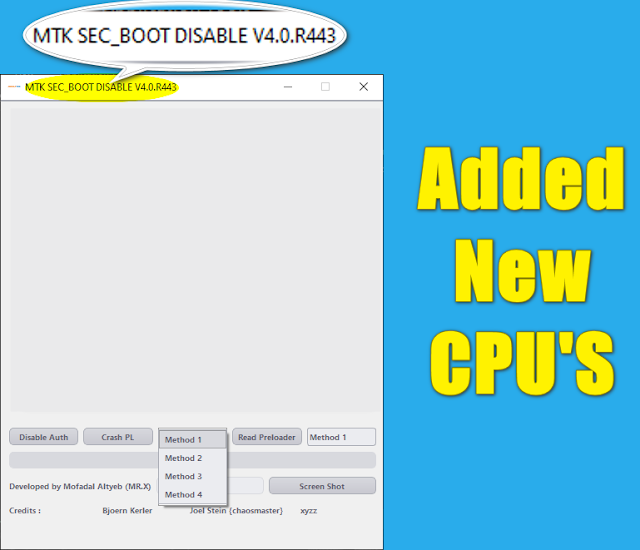 MTK Sec Boot Disable v4.0.R443  Added New CPU Support