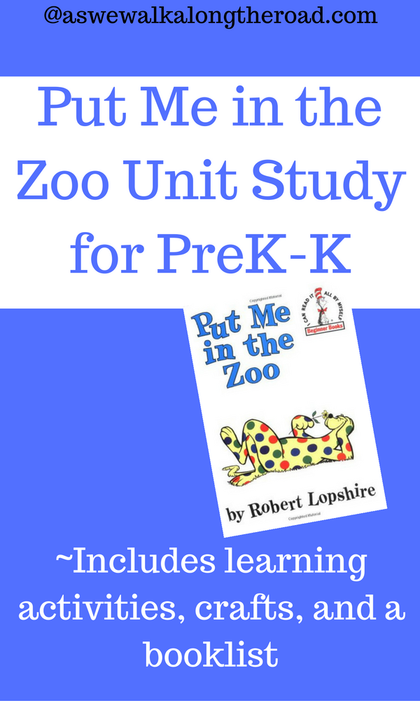 Preschool unit study for Put Me in the Zoo