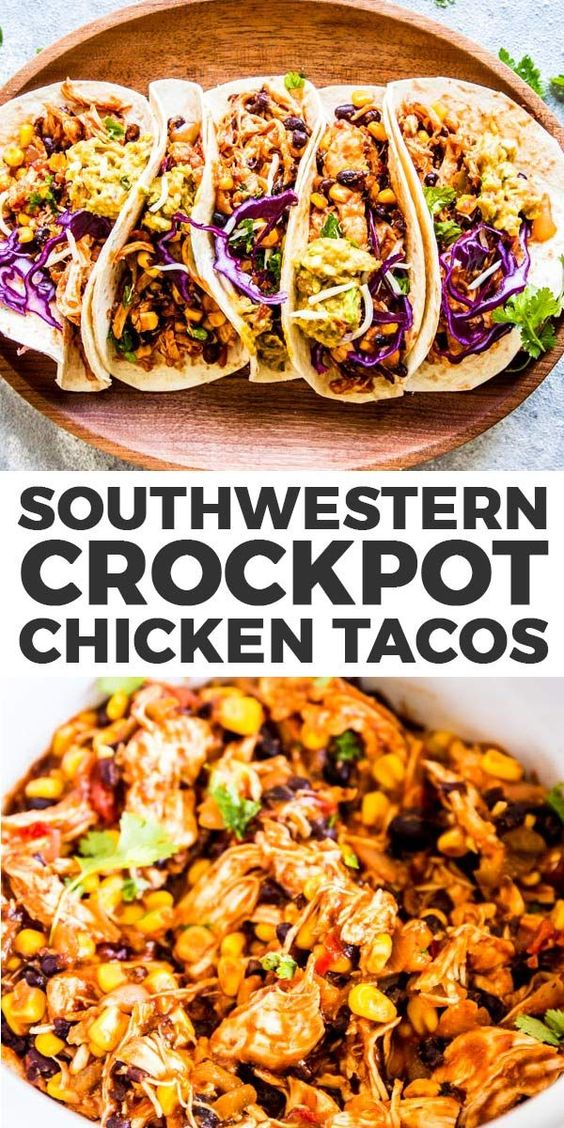 SOUTHWESTERN CROCKPOT CHICKEN TACOS #recipes #healthychicken #chickenrecipes #healthychickenrecipes #food #foodporn #healthy #yummy #instafood #foodie #delicious #dinner #breakfast #dessert #lunch #vegan #cake #eatclean #homemade #diet #healthyfood #cleaneating #foodstagram