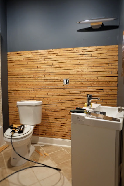 wood lath on wall end of day two