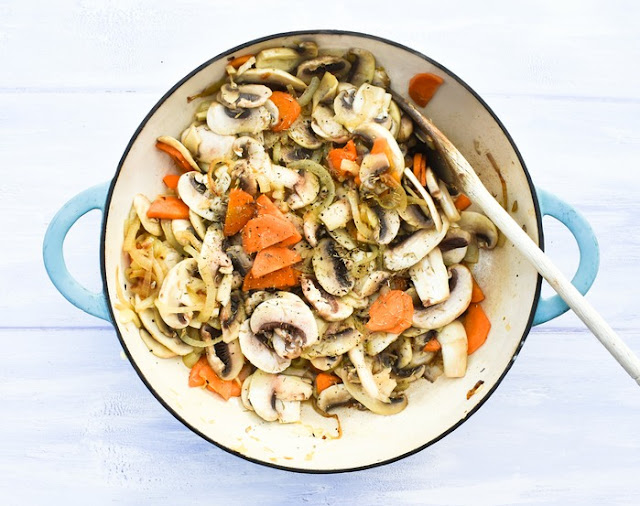 Mushroom Stew Step 4 - Cook Down (the vegetables are cooked until soft)